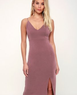 Khloe Washed Mauve Bodycon Midi Dress
