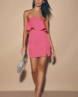 Kiani Bright Pink Strapless Bodycon Dress