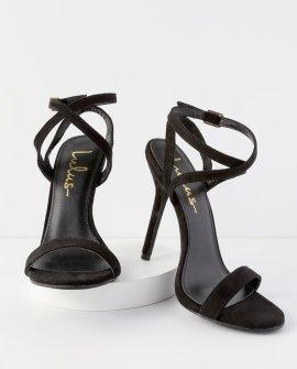 Kingston Black Suede Ankle Strap Heels