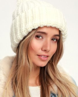Knit's About Time Ivory Pom Pom Beanie