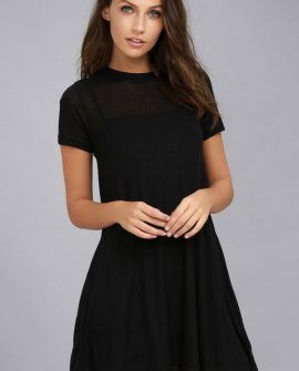 Knockout Black Ribbed Swing Dress