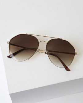Know Your Angles Gold Aviator Sunglasses