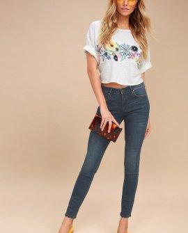 Kora Dark Wash Mid-Rise Skinny Jeans
