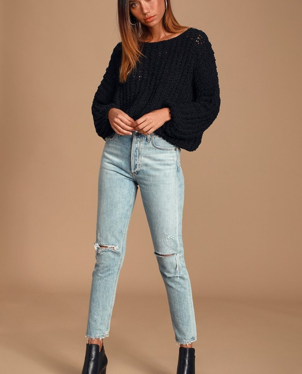 Kyleigh Black Loose Knit Sweater