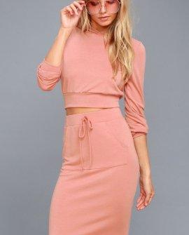 LA Love Rusty Rose Bodycon Midi Skirt