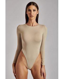 LYDIA Crew Neck Long Sleeve Bodysuit - Taupe