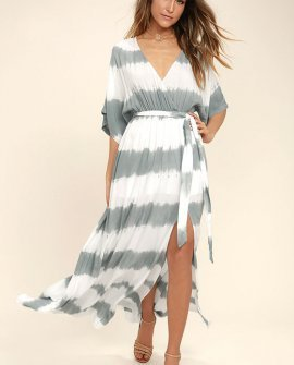 La Concha Dusty Sage Tie-Dye Wrap Maxi Dress