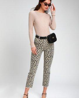 La Vida Beige Leopard Print High Rise Cropped Jeans