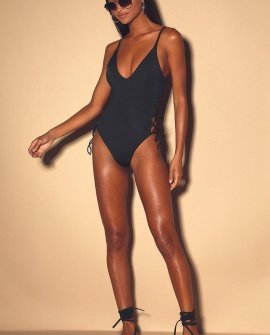 Lace Into It Black Lace-Up One-Piece Swimsuit