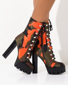 Lace Up Chunky Heel Platform Bootie