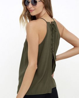 Laced Back Olive Green Lace-Up Top