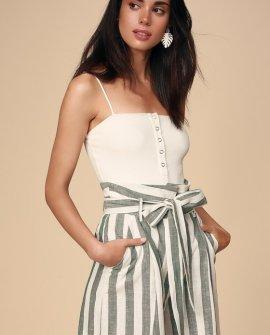 Lagos White and Sage Green Striped Paperbag Waist Shorts