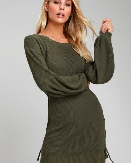 Lalianna Olive Green Balloon Sleeve Lace-Up Sweater Dress