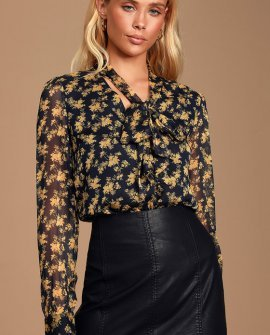 Lanae Navy Blue and Yellow Floral Print Button-Up Top