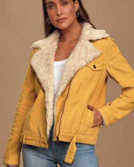 Laps Around The Sun Yellow Corduroy Moto Jacket