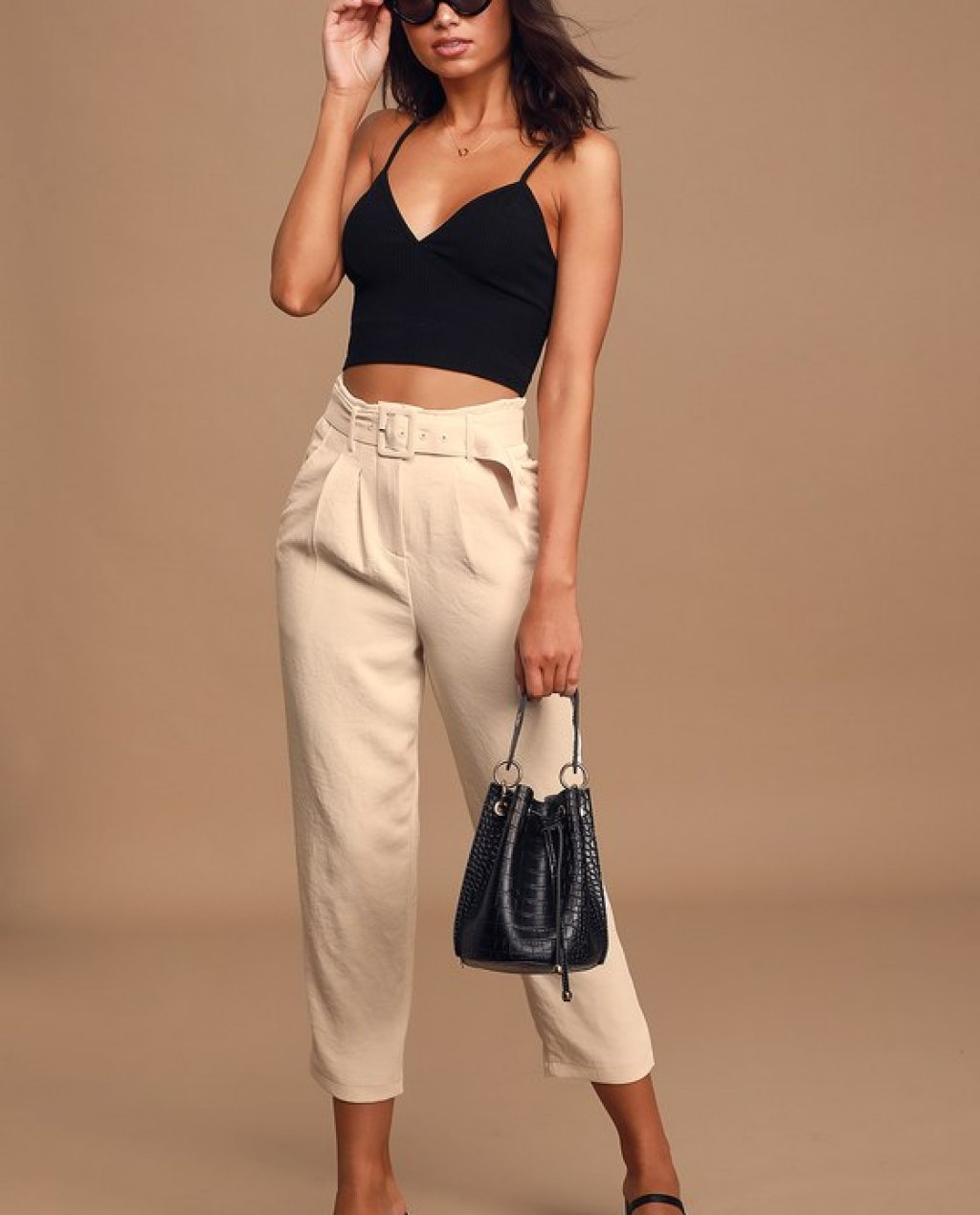 Larsen Cream High-Waisted Belted Tapered Pants