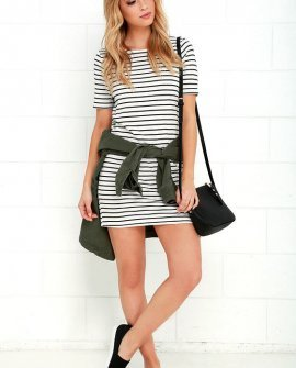Law Bender Black and Ivory Striped Dress