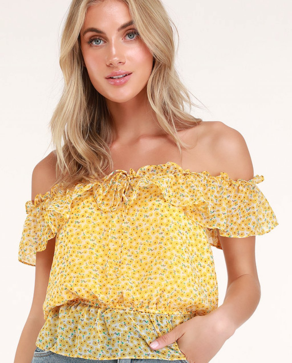 Lawton Yellow Floral Print Off-the-Shoulder Top