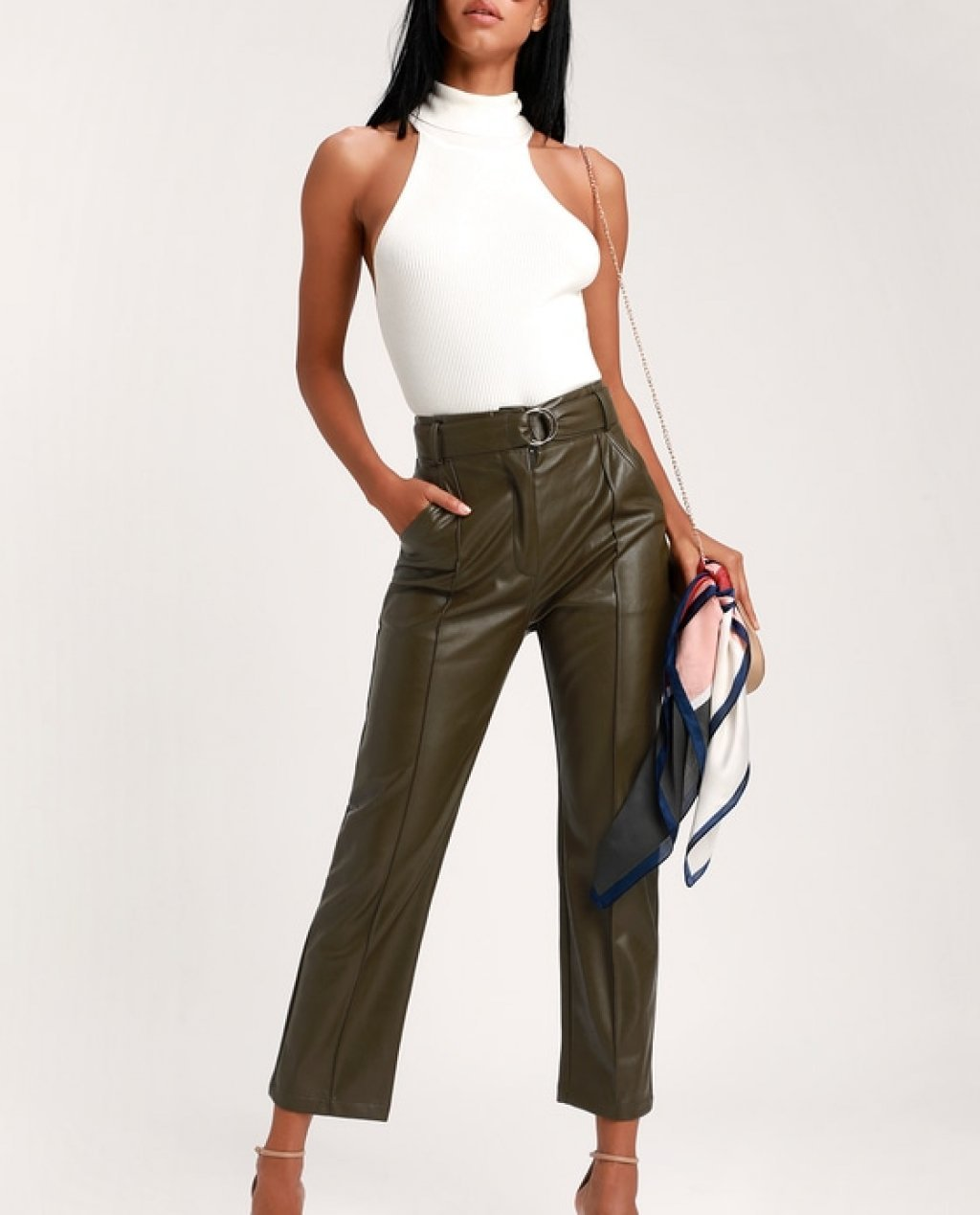Leanna Olive Green Vegan Leather Belted Pants