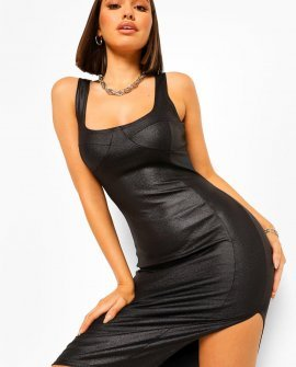 Leather Look Cup Detail Midi Dress