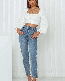 Lee High Moms Jeans Bias Blue