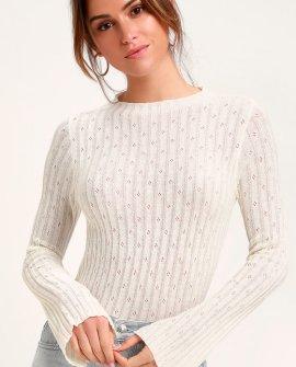 Leida White Ribbed Sweater Top