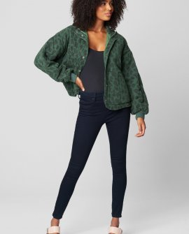 Leopard Print Tencel Drop Shoulder Quilted Jacket