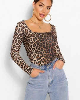 Leopard Square Neck Long Sleeve Top