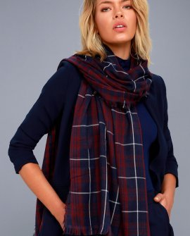 Let it Snow Navy Blue and Burgundy Plaid Scarf