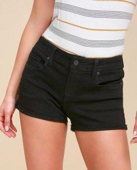 Lexi Black Distressed Denim Shorts