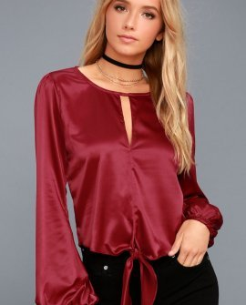 Life of the Party Red Satin Long Sleeve Top