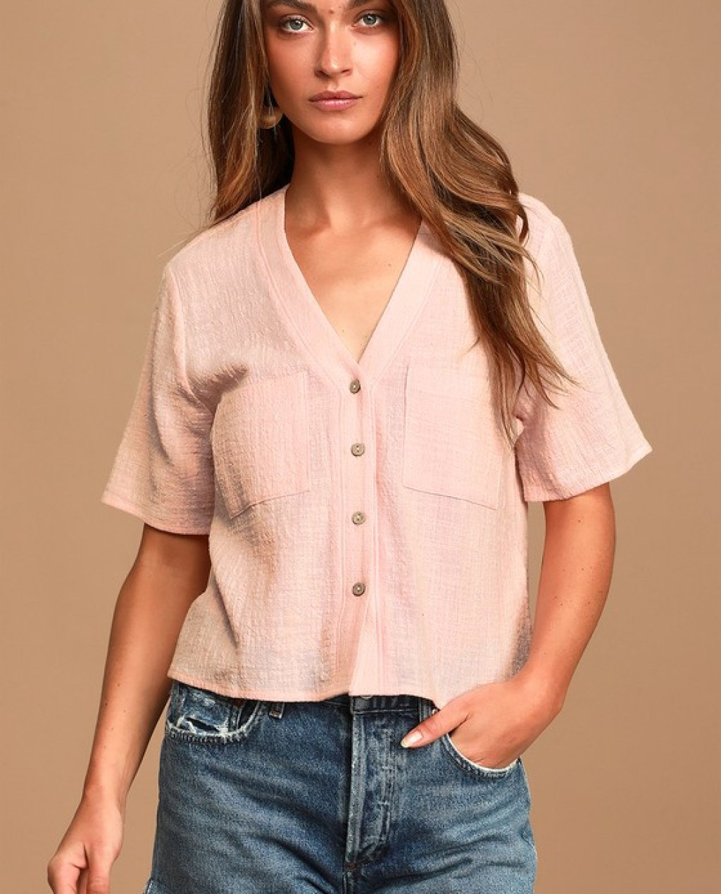 Lift My Spirits Light Pink Button-Up Crop Top