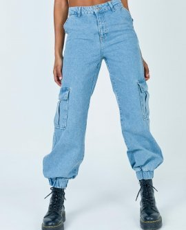 Light Blue Cuffed Combat Jeans by The Ragged Priest