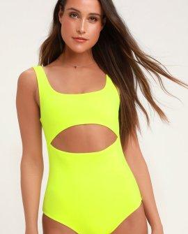 Lightning Bolt Neon Yellow One-Piece Swimsuit