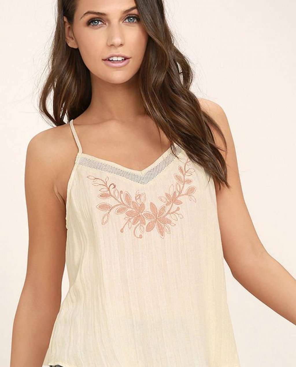 Like Me Now Light Beige Embroidered Top