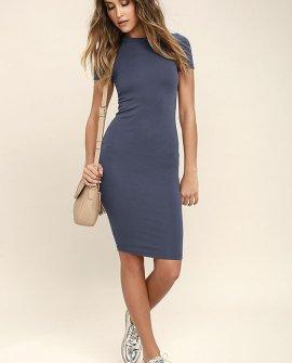 Like Minded Slate Blue Bodycon Midi Dress