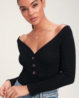 Lilyth Black Ribbed Long Sleeve Off-the-Shoulder Bodysuit