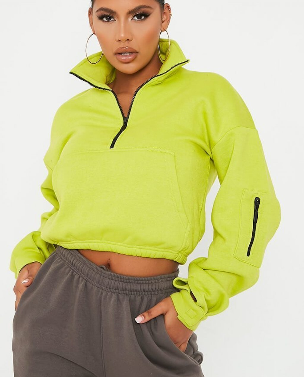 Lime Green Half Zip Long Sleeve Pocket Front Sweatshirt