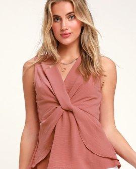 Lisa Lee Sleeveless Blush Pink Twist-Front Top