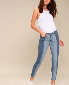 Lisa Medium Wash Two-Tone Ankle Skinny Jeans