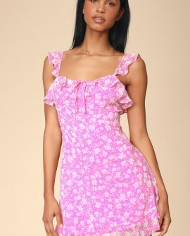 Livi Pink Floral Print Ruffled Skater Dress