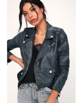 Living My Life Navy Blue Vegan Leather Moto Jacket