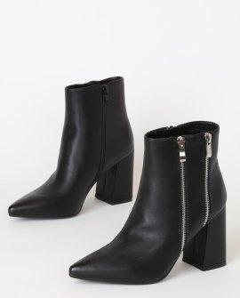 Lockwood Black Pointed-Toe Ankle Booties
