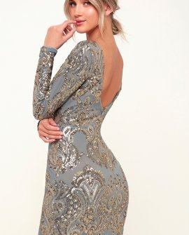 Lola Light Blue and Gold Sequin Long Sleeve Bodycon Dress