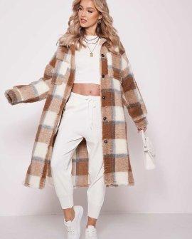 Longline teddy borg checked long sleeve shacket coat brown
