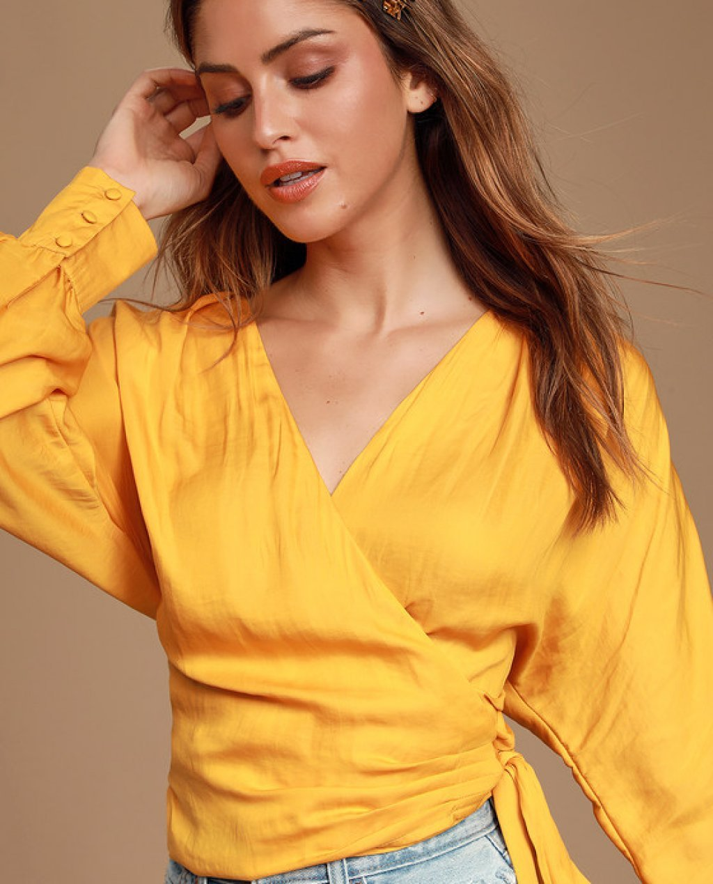 Lorentz Golden Yellow Long Sleeve Wrap Top
