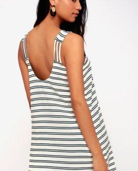 Lost Lane White Striped Sleeveless Shift Dress