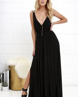 Lost in Paradise Black Maxi Dress