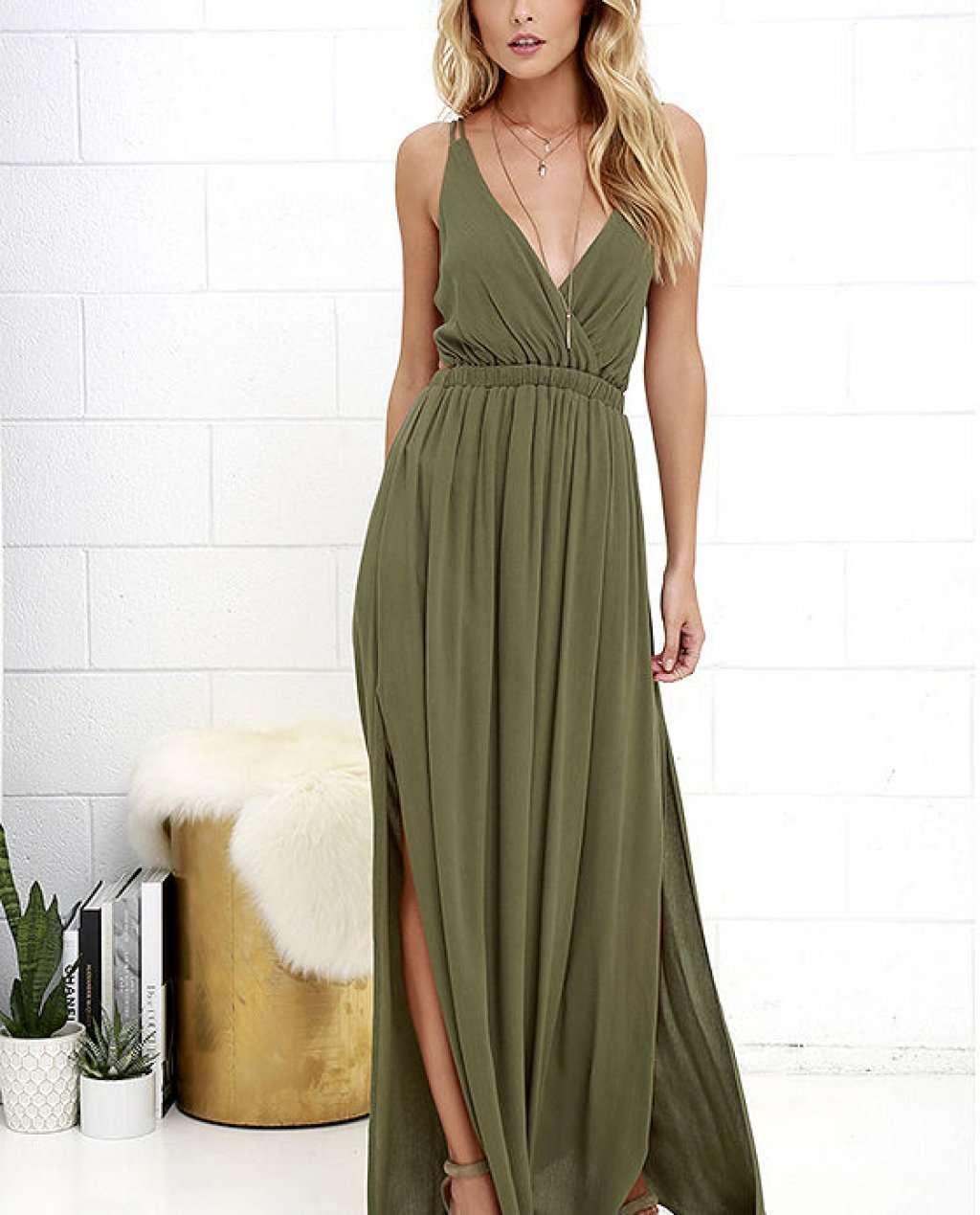 Lost in Paradise Olive Green Maxi Dress