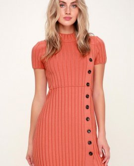 Lottie Coral Pink Ribbed Button-Front Mock Neck Sweater
